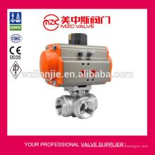 CF8M 3 Way Ball Valves Pneumatic Actuator Ball Valves