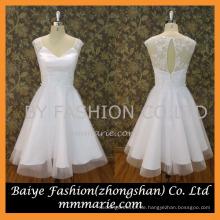 2016 V-Ausschnitt sehen durch hinten sexy kurzes mini weißes Hochzeitskleid