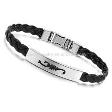 2015 nueva pulsera del cuero de la joyería de la manera y wristband femenino P502 del refuerzo de la pulsera del encanto del diseño del acero inoxidable
