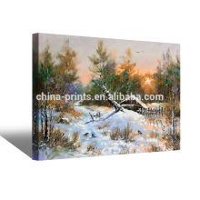 Pintura al óleo personalizada del paisaje del invierno en tela