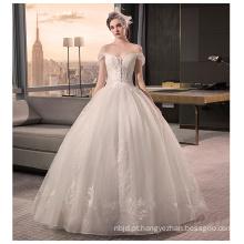 2017 Luxo China Vintage Lace Off-shoulder vestido de noiva Appliqued Vestido de noiva Puffy