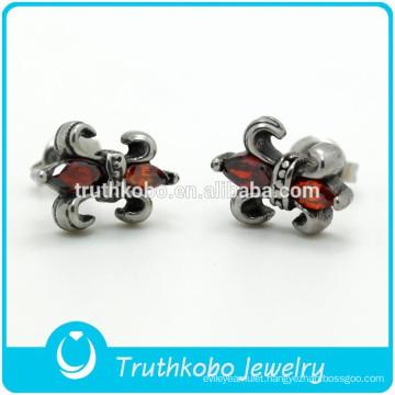 TKB-0085 High Polish Stainless Steel Studs Earrings Punk Cubic Zirconia Men's Knight Fleur De Lis Jewelry