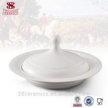 Wholesale hand ceramic soup tureen, white ceramic bowl with cover
