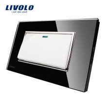 Производитель Livolo Black Toughend Стеклянная Панель Переключатель Тип США Роскошный Кнопочный Переключатель 1Gang 2 Way VL-C3K1S-82