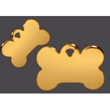 Étiquettes de chien adaptées aux besoins du client par alliage d'or de zinc d'or avec la chaîne de boule