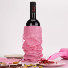 Printed Cheap Prices Linen Jute Hemp Drawstring Pouches Beer Wine Bottle Bag Jute wine bottle tote Bag