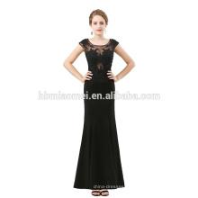 Schwarzes elegantes Abschlussballkleid sleeveless sehen Sie durch Spitzenspitzekleidmode 2012