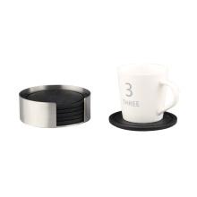 Edelstahlhalter mit schwarzem DrinkSilicone Coaster Set