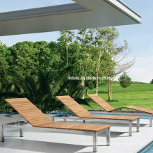 Patio Stainless Steel Teak Chaise Lounge