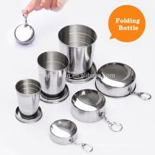 3 tamanho para escolher copos de viagem dobrável de aço inoxidável