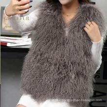 Factory wholesale mongolian real fur vest woman