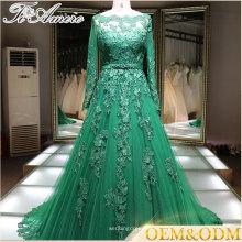 Vestido de noche China Long manga islámica verde vestido de novia 2017