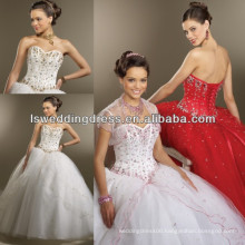 HQ2008 White beaded boned red quinceanera dresses