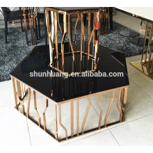 fashion whosale price coffee table sets silver color living room furniture