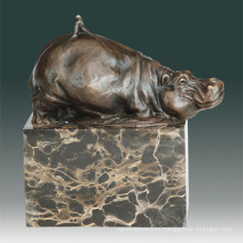 Animal Bronze Sculpture Hippopotamus/Hippo Decor Brass Statue Tpal-270