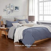 Muji styles-100% cotton knitting bedding set with stripes