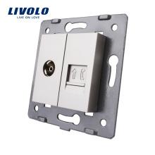 Производство Livolo Серый аксессуар для настенной розетки База RJ11 Телефон и ТВ-розетка VL-C7-1VT-15