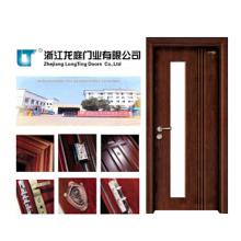 Porta de madeira contínua da entrada com vidro (LTS-203)