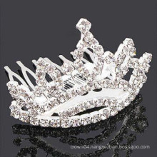 fashion metal silver plated crown shape crystal stone hair band