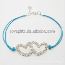 Alambre azul Diamante pulsera de doble corazón aleación tejida