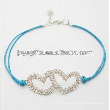 Blue wire Diamante double heart alloy woven bracelet