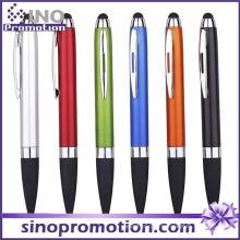 Metal lustro ponta de borracha clique caneta esferográfica com clipe