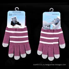 Леди мода полосой трикотажные зима теплая Сенсорный экран перчатки (YKY5462)