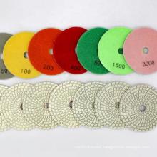 China Sharp type wet grinding white 100mm diamond polishing pad