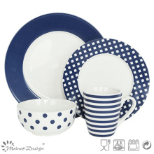 Estilo de la manera del sistema de cena de la porcelana de la etiqueta 16PCS