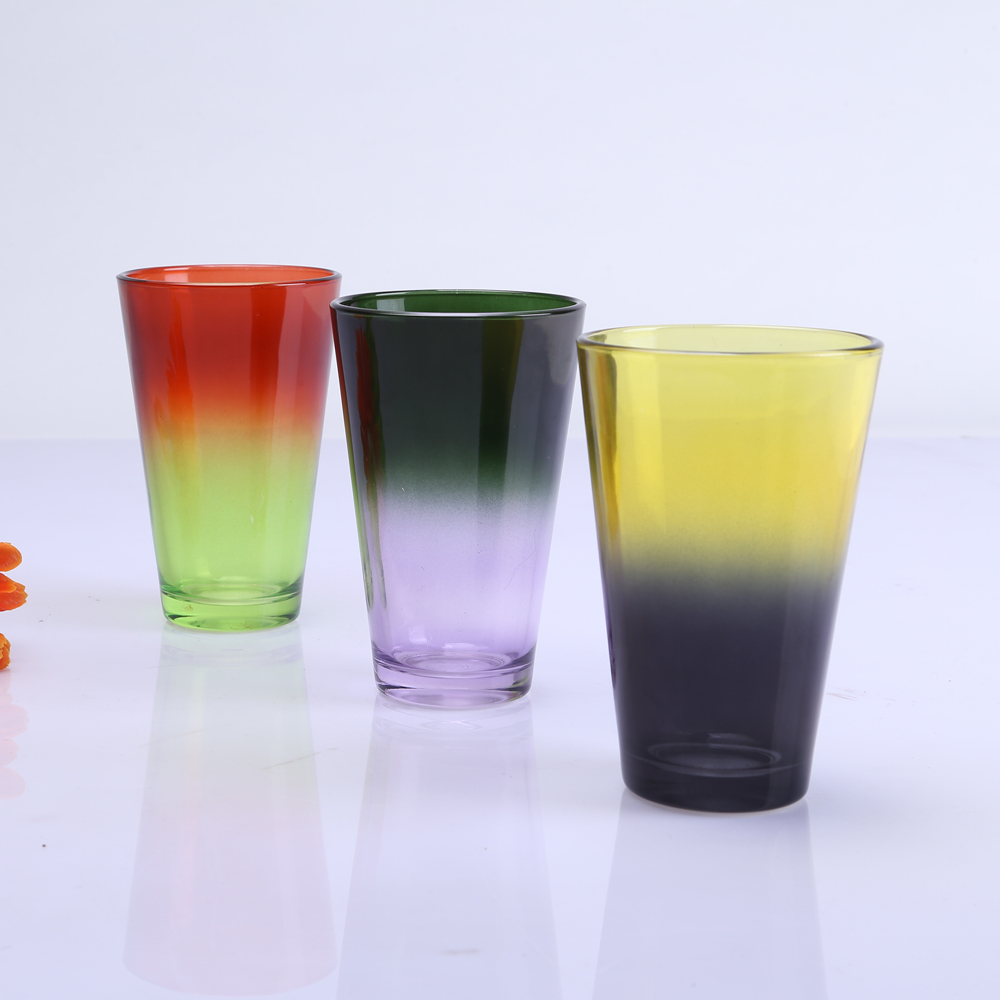 Br 9924colors 10oz Tumbler Water Cup Handmade Gradually Changing Color Glass Cup For Drinking