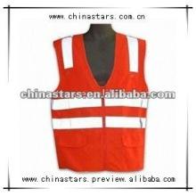 Vermelho colete de segurança de alta visibilidade reflexiva