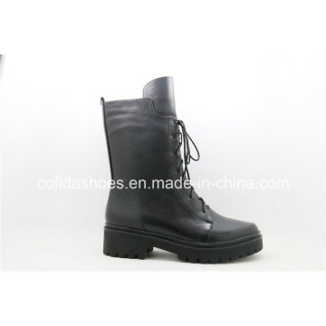 Full Leather Lace Ladies Boots with Simple Designs