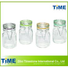 Poteaux en verre carré de 100 ml à 4 pièces avec couvercle en verre à charnière