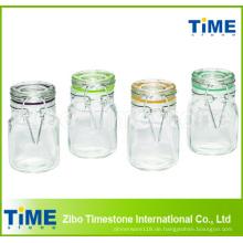 4-teilige 100ml quadratische Gläser mit Scharnier mit Glasdeckel