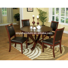 Black leather cover and modern dining table and chair set XYN1509