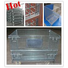 Stockage pliable logistique de récipient de fil / cage / palette de boîte de maille / récipient pliable de fil