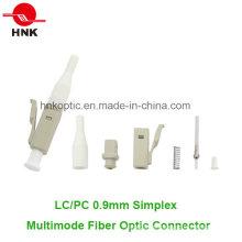 LC PC 0.9mm Simplex Multimodo Fibra Óptica Conector