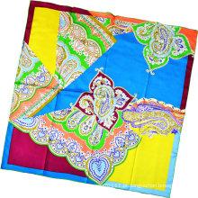 Senhora moda paisley impresso lenço quadrado de seda (hc1315-4)