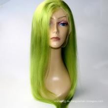 """Auf Lager 10 """"-24"""" hellgrüne Spitzefrontperücken 130% Dichte Brasilianische menschliche remy Haarperücke-Babyhaar"""