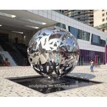 Escultura urbana de alta pulido de acero inoxidable esfera hueca esfera de metal