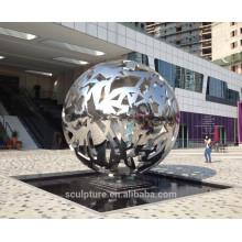 Urban sculpture high polished stainless steel hollow sphere metal sphere