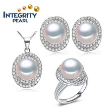 AAA 3 Colors New Design Pearl Set 9-10mm Natural Freshwater Pearl Set