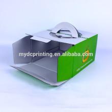 Пользовательские печать гофрированного коробки торта упаковывая с ручкой