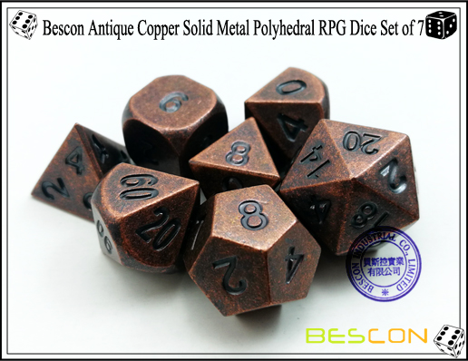 Bescon Antique Copper Solid Metal Polyhedral RPG Dice Set of 7-5