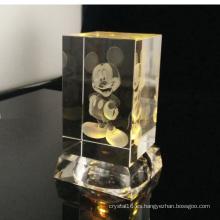 3D ratón de dibujos animados de cristal láser con cristal MultiColor llevó la Base ligera