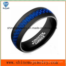 High Quality Jewelry Blue Carbon Fiber Tungsten Carbide Finger Ring