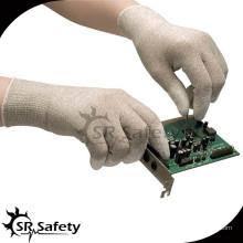 SRSAFETY ESD перчатка, нейлоно-углеродный трикотажный лайнер с покрытием белый PU на перчатках безопасности рабочих перчаток