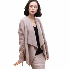 2017 Women's autumn and winter sweater cashmere cardigan loose large size pure cashmere knitted jacket solid shawl