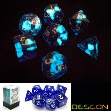 Bescon Super Glow in the Dark Nebula Glitter Polyhedral Dice Set DEEP SPACE, Luminous RPG Dice Set,Glowing Novelty DND Game Dice