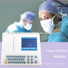 Moniteur ECG à 3 canaux, électrocardiographe, moniteur ECG électrocardiographe (MSLEC18-N)